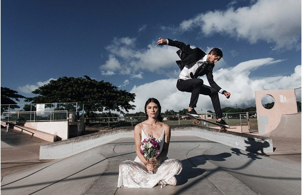 skatepark wedding photography